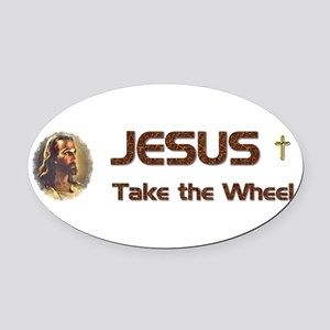 JesusWheel_bumpersticker Oval Car Magnet
